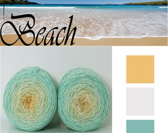 Beach* Sock Gradient yarn Merino hand dyed 2 x 50g