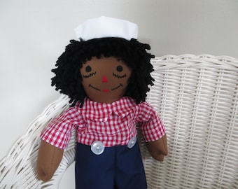 Mini African American Raggedy Andy Doll 15 inches tall Personalized Custom Handmade in the USA