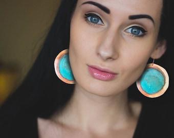 Patina copper earrings, hoop earrings, blue patina earrings, copper hook earrings, big hoop earrings, bohemian earrings, art earrings