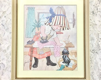 Vintage Child Wall Art. Ironing Girl in Bonnet with Puppy. Framed Litho. 1972.