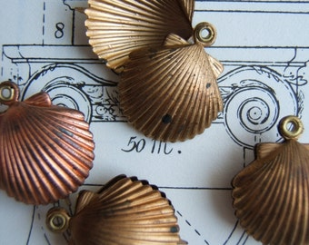 Raw Brass Vintage Shell Charms Four (4) Vintage Jewelry Finding Scallop Seashell Summer Nautical Assemblage Fun (O17)