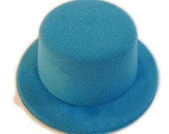 """5"""" Turquoise Blue Mini Flocked Felt Top Hats"""