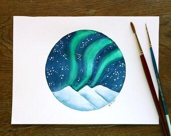 Original Watercolor painting Northern lights art Sky Stars Hand painted illustration blue green