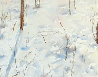 "Snow Shadows --Watercolor Landscape Painting 8x12"" Original Artwork, nature art, impressionist"