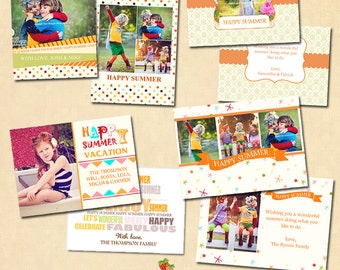 INSTANT DOWNLOAD - Flat Card Photoshop templates - Happy Summer - CA150