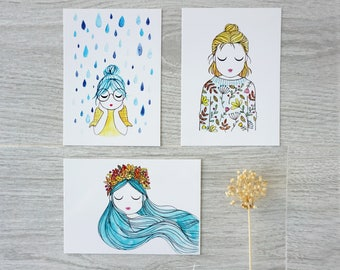 "Set of 3 illustrated postcards  ""Autumn"" - Prints set"