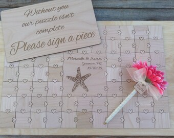 50 pcs Beach Wedding Guest Book Puzzle Custom Puzzle with Heart Tabs