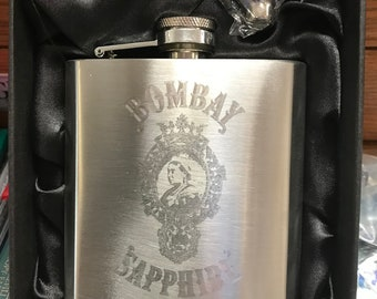BOMBAY SAPPHIRE Gin logo HIPFLASK Stainless Steel 6 oz hip flask engraved
