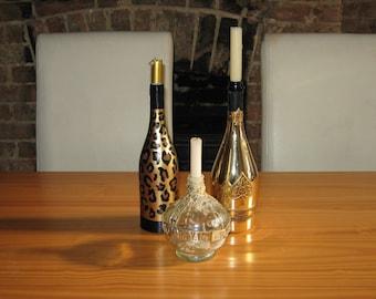 Leopard print candle/flower holder