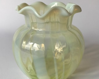 19thC Victorian Opalescent Vaseline Glass Posy Vase - Perfect Condition, Possibly Webb