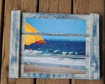 beach umbrella photo - Emerald Isle - beach lovers gift - beach house decor - beach art - coastal photography - beach photography