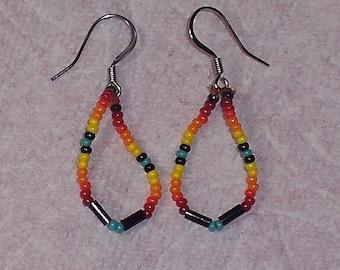 Native American Beaded Southwestern Teardrop Earrings