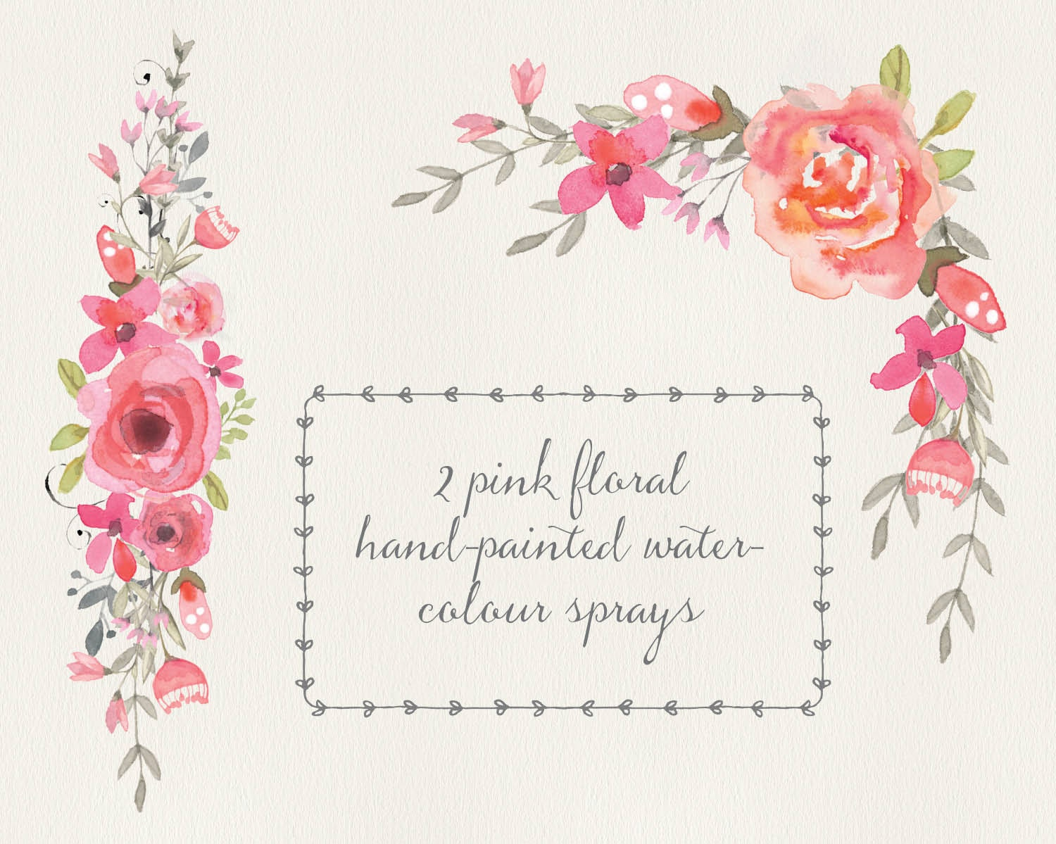 Watercolour Floral Clip Art Two Pink Sprays Wedding