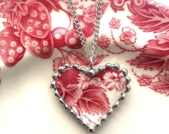 Johnson Bros Strawberry Fair, daisies, broken china jewelry, heart pendant necklace, red toile, English transferware. recycled china