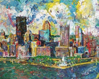 Pittsburgh art, City Skyline, Pittsburgh print, Pittsburgh wall art, man cave art, Three Rivers, The Point, by Johno Prascak