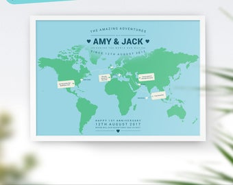Valentines, World Travel Map, Wanderlust, Mothers Day, Mum, Personalised Travel Map, Places We've Been Map, Map of the World, Best Seller