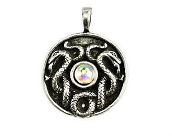Celtic Snake Pendant - Pewter, Serpent, Spirit animal, Double snake, Nathair, Snake totem, Coiled serpents