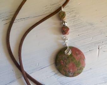 Wire wrapped pendant , unakite pendant, leather cord