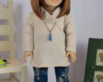 Tunic SWEATER Top Beige Tan Camel with Blue LEGGINGS and BOOTS Options for American Girl or 18 inch Doll
