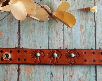 Southwestern Leather Cross Cuff bracelet, boho bracelet