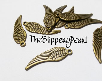 Angel Wing Charms Pendants Antiqued Bronze Double Sided 30mm 10 pieces