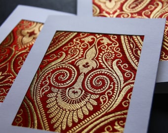Multi pack greeting cards, Pack of 3 or 5, Indian fabric greeting cards, blank print fabric card, gold card, textile cards, bundle of cards