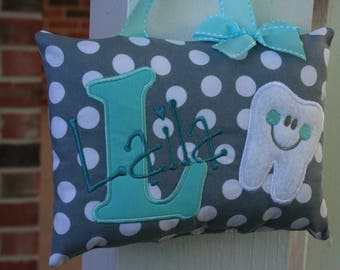Girls Tooth Fairy Pillow Personalized - Polka Dots - Gray -  Turquoise - Tooth Chart - Keepsake - Baby Gift