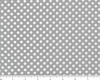 GREY POLKA DOT Quilt Fabric - Grey Cotton Fabric - Polka Dot - By the Yard - Cut from Bolt