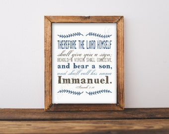 Christmas artwork. Immanuel. Isaiah 7:14. Bible verse. Scripture. Instant download. Printable art. Christian home decor. Names Jesus.