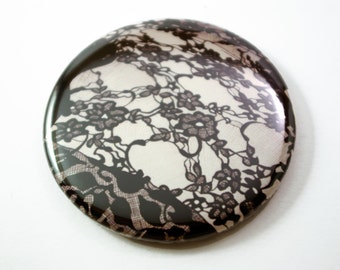 Pocket Mirror Black lace- hand drawn lacy floral design, black and white.