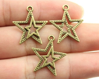10 Double Star Charms, Antique Bronze Tone Charms (1D-24)