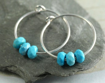 Silver Hoops with Turquoise  gemstone Beads | Turquoise Earrings | Turquoise Jewellery | December Birthstone | Turquoise Hoops | Gem hoops