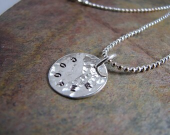Sterling Silver Hammered Handstamped Single Disc Charm Necklace