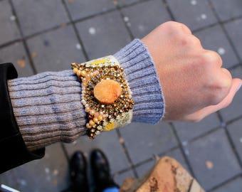 Orange Cuff Bracelet Bohemian Jewelry Orange Agate Stone Bracelet Crystal Statement Bracelet Hippie Chic Jewelry Swarovski Friendship Cuff