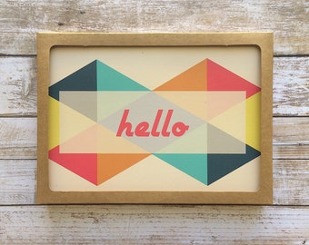 Recycled Greeting Card | Hello | 5x7 w/ Envelope