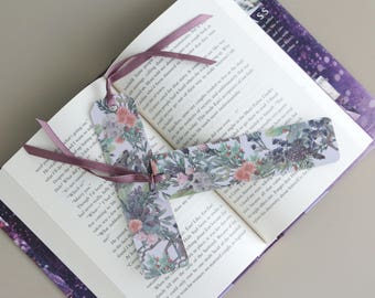Purple Flower Paper Bookmark with Satin Ribbon
