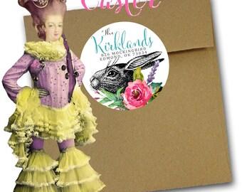 Elegant Easter Address Labels, Rabbit and Floral Easter Address Labels, Aqua