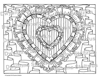 Ruffled Heart Coloring Page JPG
