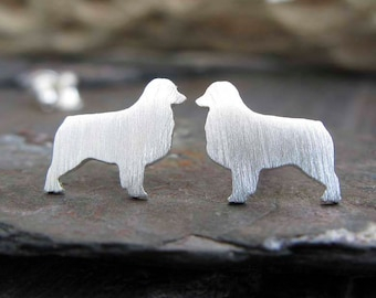 Australian Shepherd post earrings. Dog silhouette jewelry. Sterling silver, 14k gold filled or solid 14k gold studs. Dog lover gift. Rescue.