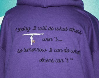 Embroidered hooded Gymnastics quote sweatshirt - custom made gymnastic sweatshirt