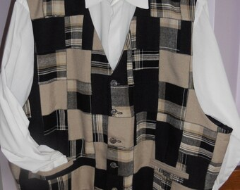 Patchwork men's clasic vest - size 4XL mens vest , ready to ship