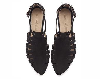 Black sandals, Alice, Flats, Leather Sandals, Handmade, Flat Sandals by tamar shalem on etsy