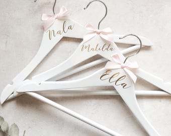 Personalised Childs Size white wooden name Hanger. Flower Girl dress hanger, Christening dress hanger, Bridal hangers. Black, gold or silver