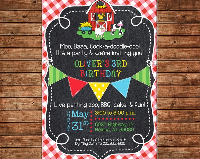 Boy or Girl Invitation Farm Barn Petting Zoo Gingham Birthday Party - Can personalize colors /wording - Printable File or Printed Cards