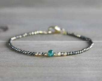 Emerald Birthstone Bracelet, May Birthstone Jewelry, Skinny Emerald & Pyrite Beaded Gemstone Bracelet in Sterling Silver or Gold Filled