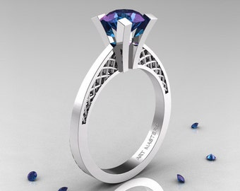 Modern Armenian 14K White Gold Lace 1.0 Ct Alexandrite Solitaire Engagement Ring R308-14KWGAL