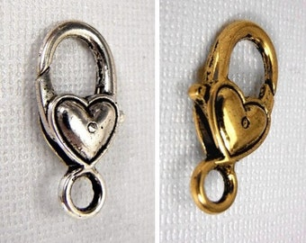 Small heart charm holder clip clasp for charms or key chains in silver, gold or gun metal for handbags, purses, backpacks, ornaments, badges