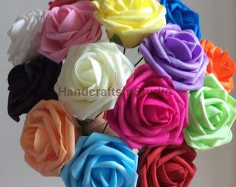 "Artificial Foam Rose Real Touch Flowers For Wedding Bridal Bouquet  Table Centerpiece Home Decor Wholesale Lot 3"""