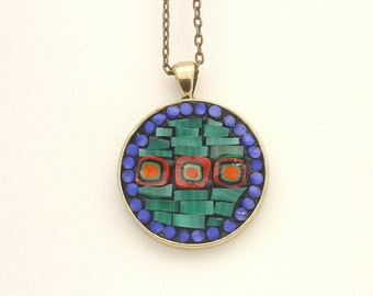 Copper tone Mosaic Circle Necklace with Millefiori and Stained Glass