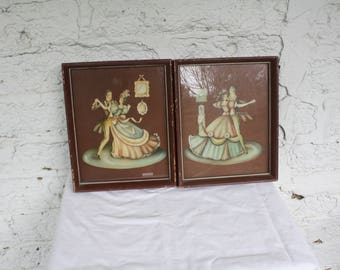 1940s Waltzing Couples  / Victorian Dancing Art / Framed Lithographs / Kitschy Home Decor / Vintage Wall Hangings / Courting Couples In Love